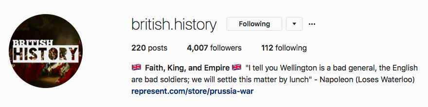British History: Instagram