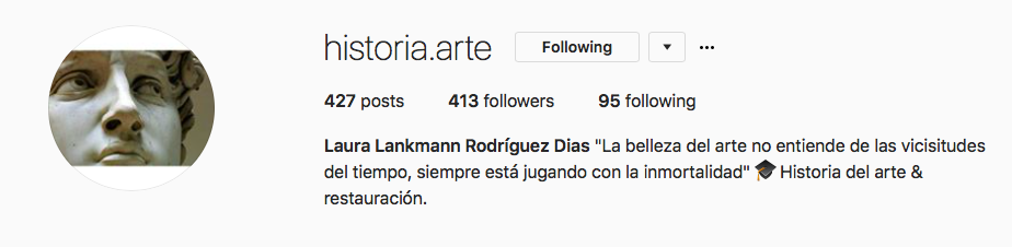Instagram Account historia.arte